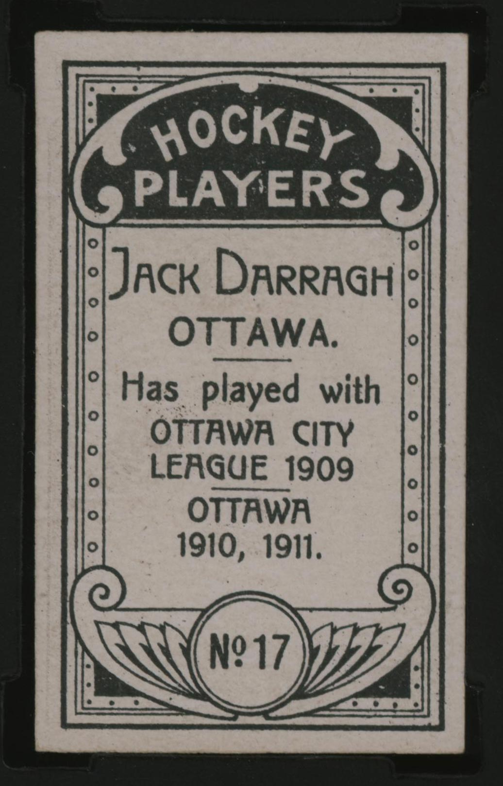 1911-1912 C55 Imperial Tobacco Hockey #17 Jack Darragh - Issued Back