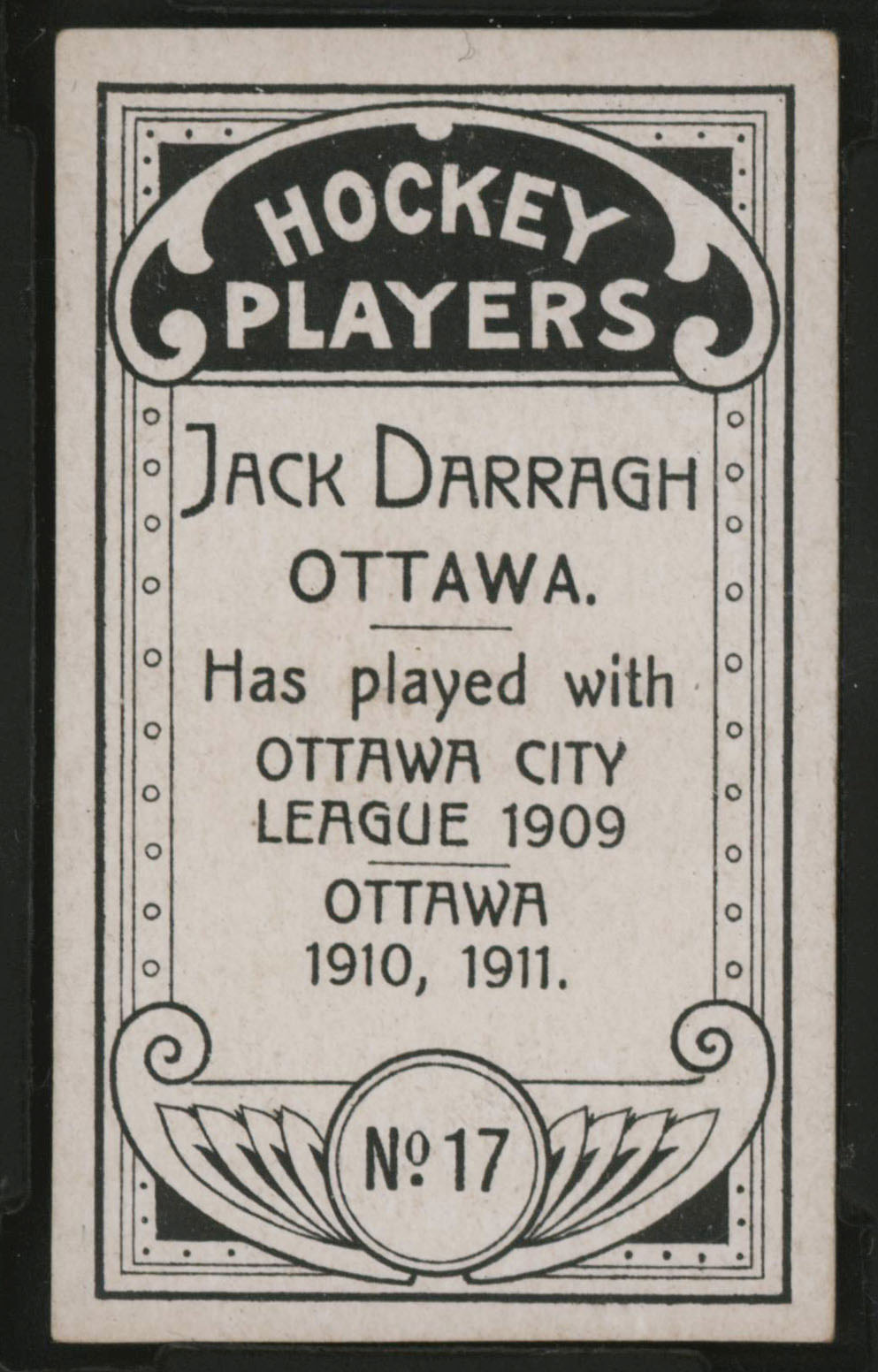1911-1912 C55 Imperial Tobacco Hockey #17 Jack Darragh - Proof Back