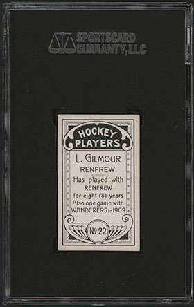 1911-1912 C55 Imperial Tobacco Hockey #22 Larry Gilmour - Back