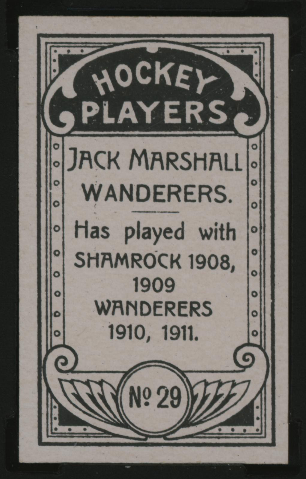 1911-1912 C55 Imperial Tobacco Hockey #29 Jack Marshall - Issued Back