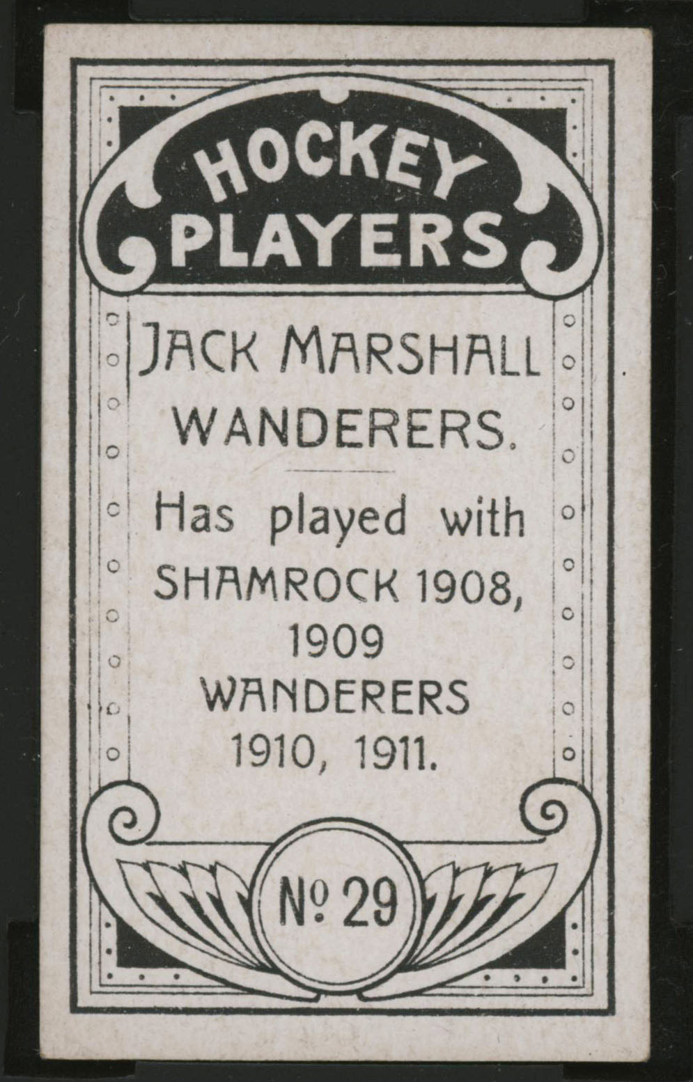 1911-1912 C55 Imperial Tobacco Hockey #29 Jack Marshall - Proof Back