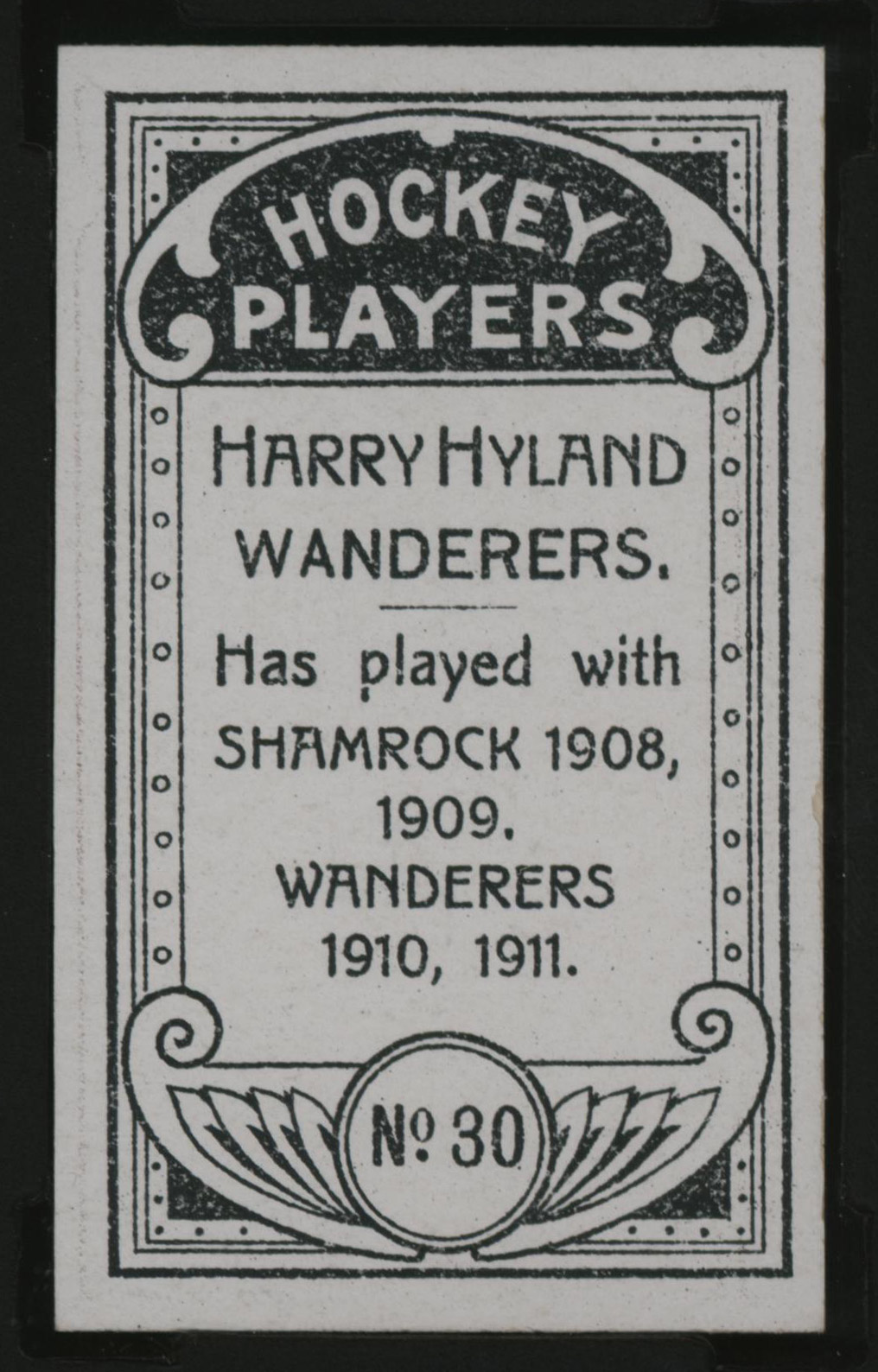 1911-1912 C55 Imperial Tobacco Hockey #30 Harry Hyland - Issued Back