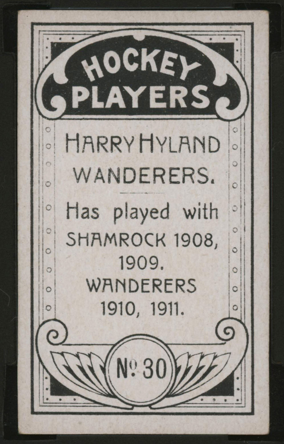 1911-1912 C55 Imperial Tobacco Hockey #30 Harry Hyland - Proof Back