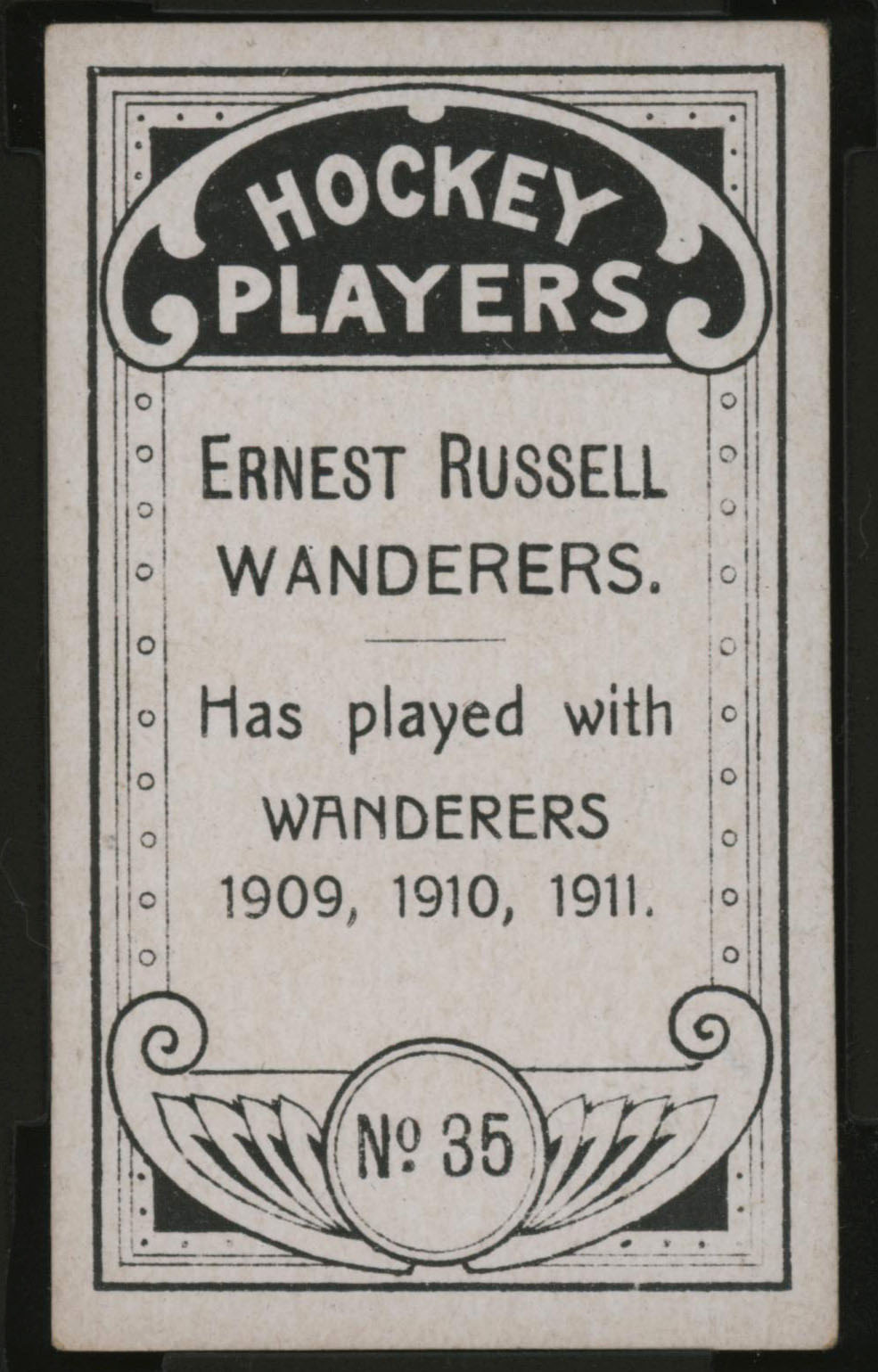 1911-1912 C55 Imperial Tobacco Hockey #35 Ernest Russell - Proof Back
