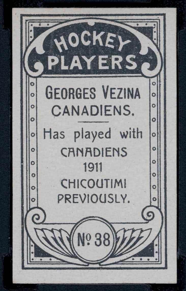 1911-1912 C55 Imperial Tobacco Hockey #38 Georges Vezina - Issued Back