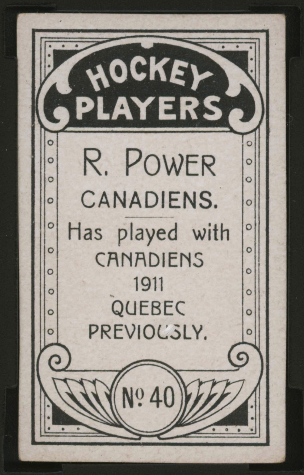 1911-1912 C55 Imperial Tobacco Hockey #40 Rocket Power - Proof Back