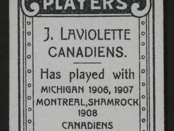 1911-1912 C55 Imperial Tobacco Hockey #45 Jack Laviolette - Issued Detail