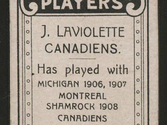 1911-1912 C55 Imperial Tobacco Hockey #45 Jack Laviolette - Proof Detail
