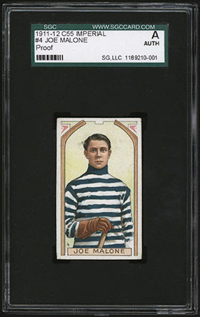 1911-1912 C55 Imperial Tobacco Hockey #4 Joe Malone - Front