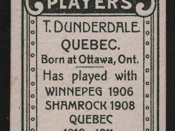 1911-1912 C55 Imperial Tobacco Hockey #6 Tom Dunderdale - Issued Detail 2