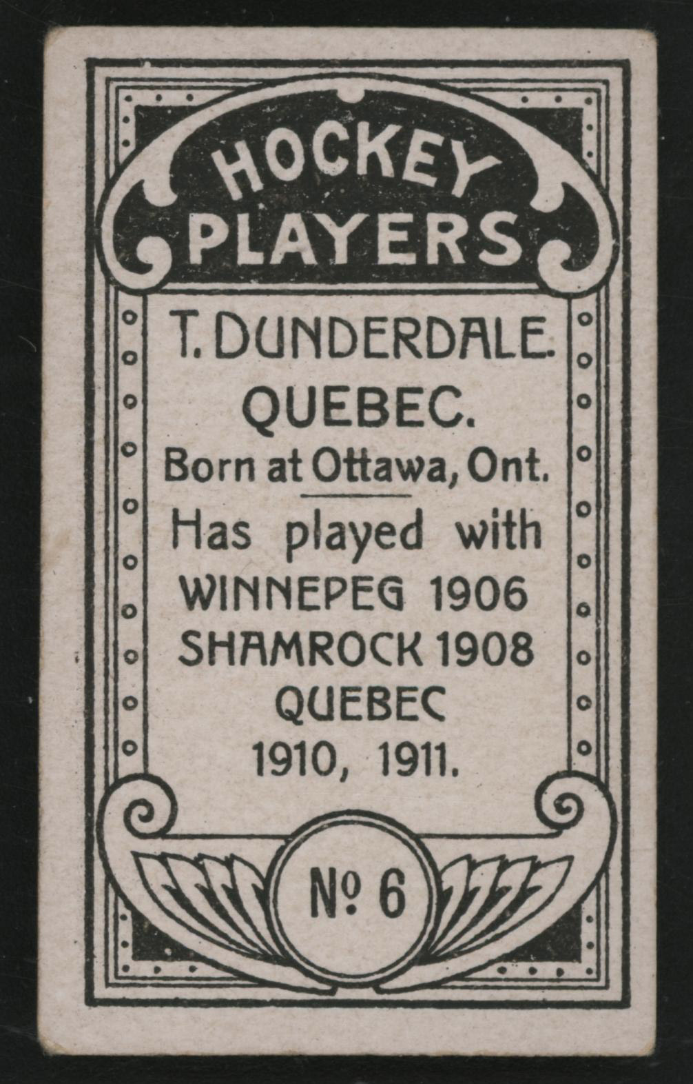 1911-1912 C55 Imperial Tobacco Hockey #6 Tom Dunderdale - Issued Back